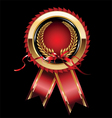 Red label with ribbon vector image vector image