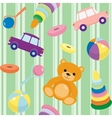 Striped seamless pattern with toys vector image