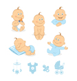 Baby boy icons set vector image vector image