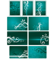 teal green background set vector image