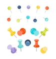 Set of push pins vector image