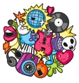 Music party kawaii design Musical instruments vector image