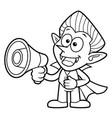 black and white cartoon dracula mascot speaks vector image