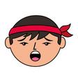 cartoon face chinese man talking unhappy vector image
