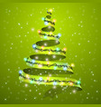 christmas tree ribbon on background glowing vector image