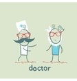 Doctor and patient with the tooth vector image vector image