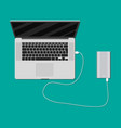 laptop charging from powerbank vector image