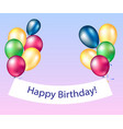 happy birthday banners with colorful balloons vector image