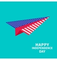 Big paper plane Dash line Happy independence day vector image