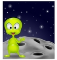 Cute green alien waving hand vector image vector image