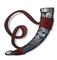 Traditional hunting horn in ethnic style vector image