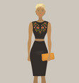 fashion model in the black embroidered dress vector image