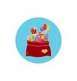 Icon Colorful Bag of Santa Claus vector image