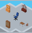 isometric furnishing set of drawer office chair vector image