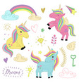 set of isolated unicorns and elements part 1 vector image
