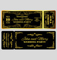 wedding party invitation template in golden black vector image