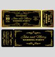wedding party invitation template in golden black vector image vector image