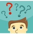 Business man in indecision on a question mark vector image