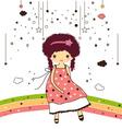 cute girls in rainbow vector image