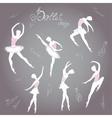 Set ballet dancers hand drawn background vector image