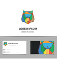 Abstract lion logo design with business card vector image