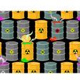 Biohazard seamless pattern Open barrels of vector image