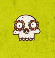 Skull with Floral Element Cartoon vector image