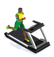 Treadmill Fitness Class Working Out 3D Flat Image vector image