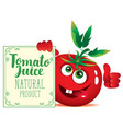 banner for tomato juice with cute character tomato vector image