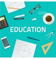 Education objects on work desk school math lesson vector image