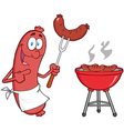Sausage With Sausage On Fork And Barbecue vector image