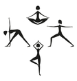 Set of yoga women silhouettes vector image