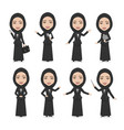 hijab muslim female character business woman vector image