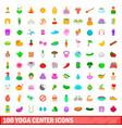 100 yoga center icons set cartoon style vector image