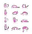 Funny pink cats collection for your design vector image