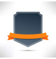 Badge with orange flat ribbon template vector image