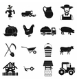 Farm black simple icons set vector image
