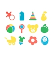 Set of baby objects colorful icon vector image