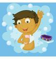 Boy showering vector image vector image