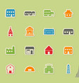 buildings icons set vector image