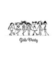girls party sketch for your design vector image