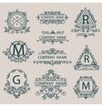 Set emblems monogram company logos business style vector image
