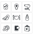 Set of Woman and her habits Icons Female vector image