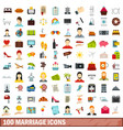 100 marriage icons set flat style vector image
