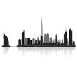 Dubai city skyline silhouette vector image