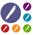marker pen icons set vector image