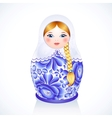 Russian traditional doll in Gzhel style vector image vector image