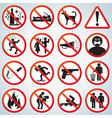 Funny forbidden icons set vector image