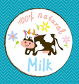 Cow and milk funny label vector image
