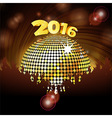 Sparkling disco ball 2016 and crowd vector image